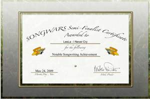 Leela was awarded for a Notable songwriting achievement, for her song I Never Cry from her album My Naked Ballads as semi-finalist of The Mike Pinder's (The Moody Blues) song competition called Songwares